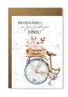 Kartka ślubna boho z rowerem na prezent vintage (1)