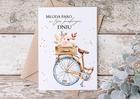 Kartka ślubna boho z rowerem na prezent vintage (2)