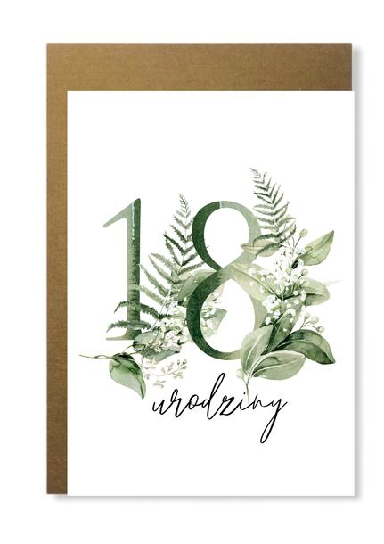 Kartka na urodziny z wiekiem kwiatowa elegancka (1)