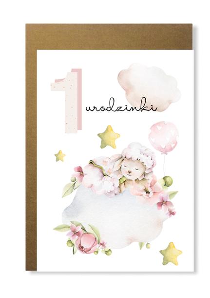 Kartka dla dziewczynki na roczek 1 urodziny różowa (1)