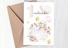Kartka dla dziewczynki na roczek 1 urodziny różowa (2)