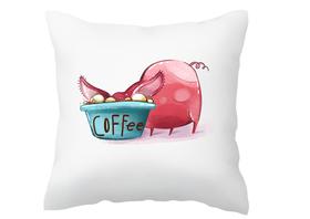 Poszewka na poduszkę ze świnką dla kawosza zabawna