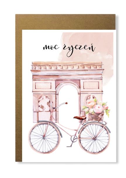 Kartka z rowerem kobieca dla niej francuska róże (1)