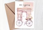 Kartka z rowerem kobieca dla niej francuska róże (2)
