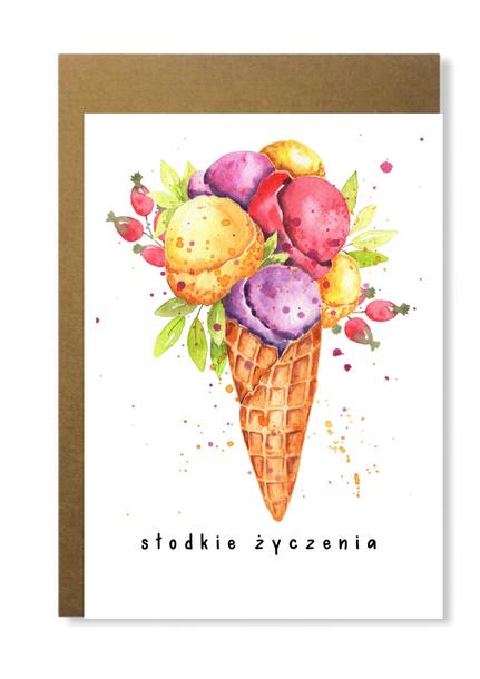 Kartka urodzinowa z rożkiem lodów słodka różowa (1)