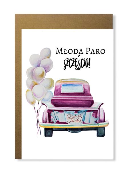 Kartka ślubna w stylu retro ze starym samochodem (1)