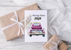 Kartka ślubna w stylu retro ze starym samochodem (2)