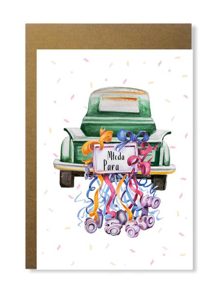 Kartka ślubna stary samochód dla młodej pary (1)