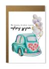 Kartka ślubna z retro samochodem nowożeńcy ślub (1)
