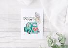 Kartka ślubna z retro samochodem nowożeńcy ślub (2)