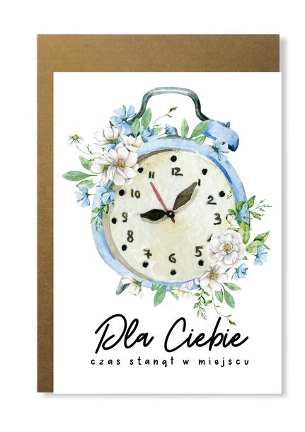 Kartka z zegarem na prezent dla niej niego urocza (1)