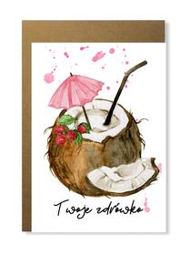 Kartka z kokosem twoje zdrowie urodziny prezent