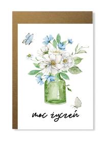 Kartka okolicznościowa z bukietem kwiatów urocza