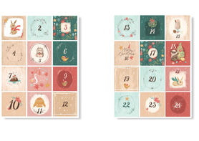 Naklejki świąteczne na kalendarz adwentowy DIY XL