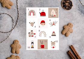 Kopia - Naklejki świąteczne na kalendarz adwentowy DIY XL