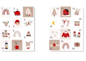Naklejki świąteczne na kalendarz adwentowy eko XL